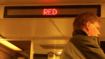 January 2012 | Electronic sign on-board train informing passengers of train line. (Photo courtesy of Saaret Yoseph)