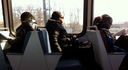 February 9, 2012 | Window-seated commuters while en route to Union Station metro station. (Photo courtesy of Saaret Yoseph)